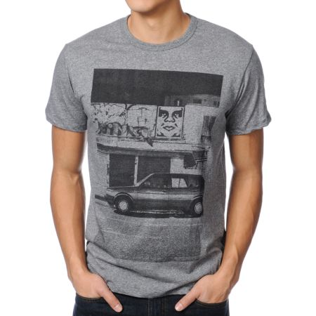Obey Paris Photo From The North Charcoal Grey Tee Shirt