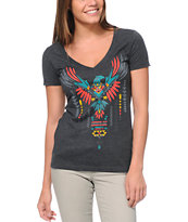 Empyre Girls Take Wing Charcoal V-Neck Tee Shirt
