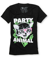 A-Lab Party Animal Black V-Neck Tee Shirt