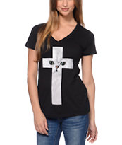 A-Lab Girls Cat Cross Black Tee Shirt