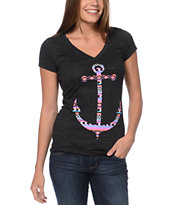 Empyre Girls Tribal Anchor Charcoal Deep V-Neck Tee Shirt