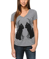 Empyre Girls Seeing Double Grey V-Neck Tee Shirt