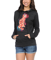 A-Lab Girls Pizza Cat Charcoal Pullover Hoodie
