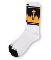 Skyline Socks Seattle Navy & Yellow Crew Socks