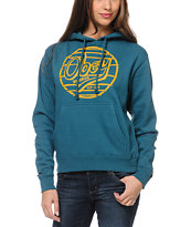 Obey Girls Obey Records Teal Pullover Hoodie