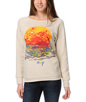 Obey Rising Red Sun Beige Vandal Crew Neck Sweatshirt