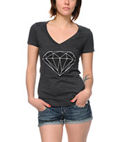 Diamond Supply Girls Big Brilliant Charcoal V-Neck Tee Shirt