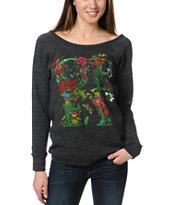 Obey Flower Type Heather Black Vandal Crew Neck Sweatshirt