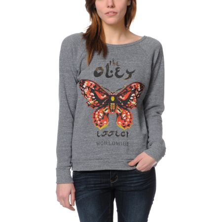 Obey The Effect Heather Grey Crew Neck Sweatshirt