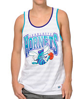 NBA Mitchell and Ness Charlotte Hornets White & Grey Striped Tank Top