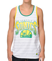 NBA Seattle Super Sonics White & Grey Striped Tank Top
