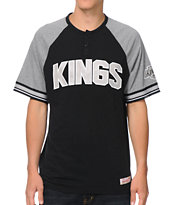 NHL Mitchell and Ness LA Kings Travel Black Henley Tee Shirt