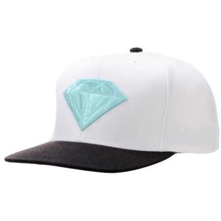 Diamond Supply Emblem White & Teal Snapback Hat