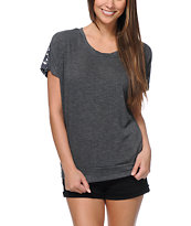 Empyre Girls Lafayette Charcoal Crochet Tee Shirt