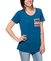 Empyre Girls Kessler Lyons Blue Tribal Print Pocket Tee Shirt