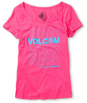 Volcom Girls Thank You Scoop Neck Pink Tee Shirt
