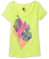 Volcom Girls Litterstone Neon Green V-Neck Tee Shirt