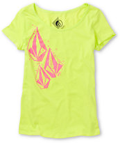 Volcom Girls Stonar Neon Green Scoop Neck Tee Shirt