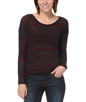 Obey Revelry Burgundy Stripe Long Sleeve Top