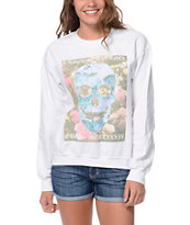Obey LAmour Eternal White Crew Neck Sweatshirt