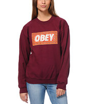 Obey Magic Carpet Maroon Crew Neck Sweatshirt