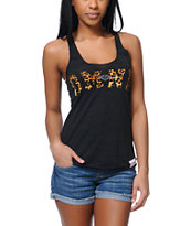 Diamond Supply Girls DMND Leopard Charcoal Tank Top