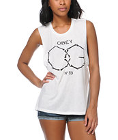 Obey OG Bones White Moto Cut-Off Tank Top