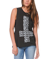 Obey Possessed Graphite Moto Cut-Off Tank Top