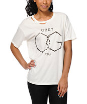 Obey OG Bones Natural White Destroyed Tee Shirt