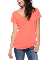 Zine Girls Georgia Peach Coral Beta V-Neck Tee Shirt