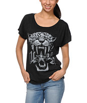 Obey Panther Scuzz Black Dolman Tee Shirt