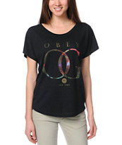 Obey OG Rose Gold Heather Black Dolman Tee Shirt