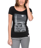 Diamond Supply Girls Born In The Bay Pt 2 Black Scoop Neck Tee
