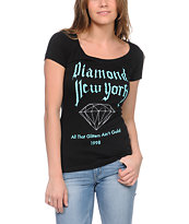Diamond Supply Girls All That NY Black Scoop Neck Tee