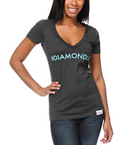 Diamond Supply Girls Hashtag Charcoal V-Neck Tee Shirt