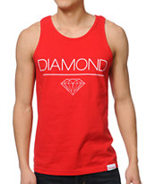 Diamond Supply White Space DMND Red Tank Top