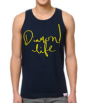 Diamond Supply Handwritten Navy Tank Top
