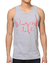 Diamond Supply Handwritten Heather Grey Tank Top
