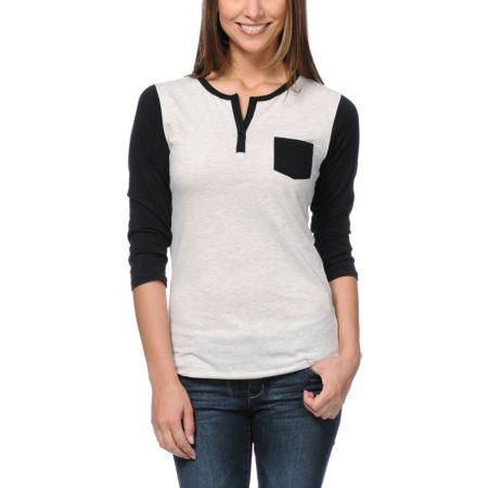 Zine Girls Black & Oatmeal Henley Baseball Tee Shirt