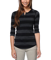 Zine Girls Black Rugby Stripe Henley Baseball Tee Shirt