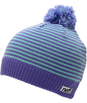 Neff Girls Hazel Purple & Blue Stripe Pom Beanie