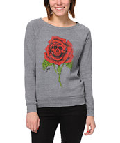 Obey Death Rose Heather Grey Vandal Crew Neck Sweatshirt