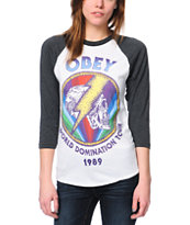 Obey World Domination Tour White & Charcoal Baseball Tee Shirt