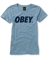 Obey Classic Font Heather Blue Tri-Blend Tee Shirt