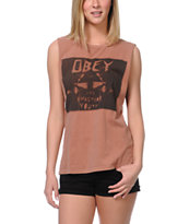 Obey Girls Wasted Youth Brown Moto Cut-Off Tank Top