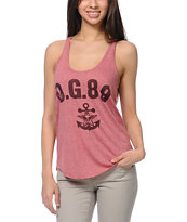 Obey Navy Red Mock Twist Racerback Tank Top