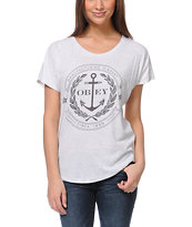Obey Cruise Liner Heather White Dolman Tee Shirt