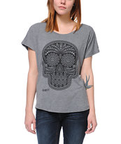 Obey Day Of The Dead Heather Grey Dolman Tee Shirt