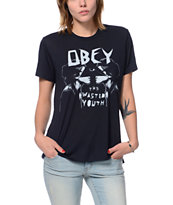 Obey Girls Wasted Youth Black After Hours Tee Shirt