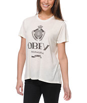 Obey Girls Nada Fog White After Hours Tee Shirt